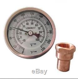 Thermometer & Copper Kit For Moonshine Still Keg Column. 1/2 NPT Thread Kettle