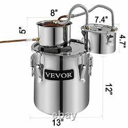 VEVOR Moonshine Still 5 Gal 21L Alcohol Distiller Copper Tube With Circulatin