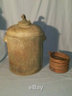 Vintage Copper / Brass Alcohol Moonshine Ethanol Still Parts, Boiler Pot & Coil