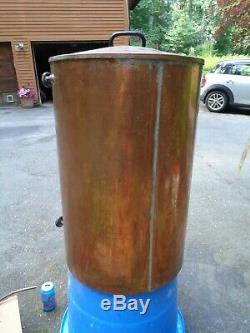 Vintage copper container water barrel moonshine still spout coffee urn 27x17 28G